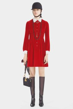 Dior Pre-Fall 2017 Collection - red velvet dress with white collar and sleeves