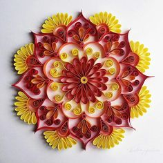 A rangoli which you can hang on your walls Neli Quilling, Paper Quilling Patterns, Origami And Quilling, Quilled Paper Art, Quilling Paper Craft, Quilling Flowers, Paper Flowers, Quilling Tutorial, Scrapbooking Quilling