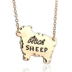 "Engraved ""Black SHEEP"" Lettering Pendant Necklace"