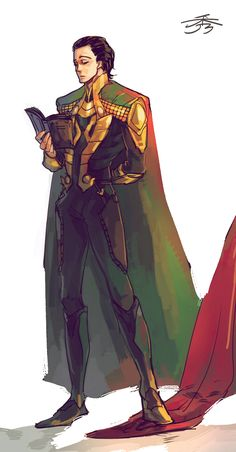 I love that he's reading a book. :P And at the same time stepping on Thor's cape to stop him from doing something stupid