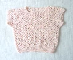 Vintage pink knit short-sleeve sweater, 3T, 80s.. $11.00, via Etsy.