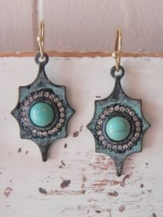 Patina and Turquoise Earrings   Taylor Made Designs