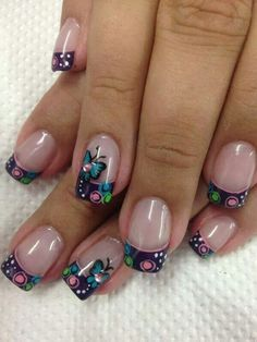 Elegant and easy Nails Butterfly Nail Designs, Gel Nail Designs, Fabulous Nails, Gorgeous Nails, Cute Nails, Pretty Nails, Dot Nail Art, Crazy Nails, French Tip Nails