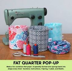 The Fat Quarter Pop Up is a fun little container that pops! A specially formed wire springs back into shape every time! Each pattern contains full color instructions, 1 small pop up (FQG121 Refills), elastic and a fun FQ Gypsy label. All you need to add is a FQ of fabric and stabilizer! Once you make one... you'll be hooked! Fat Quarter Friendly Skill Level: Skilled Beginner