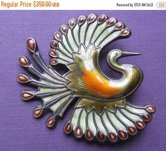 Vintage David Andersen Bird Of Paradise Brooch Norway Sterling Enamel  This is a beautiful sterling silver and enamel Bird Of Paradise…