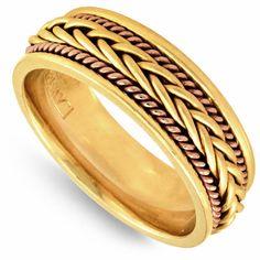 14K Gold 7mm Yellow French Braid Milgrain Rope Wedding Band