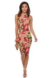 Diane Natural Floral Midi Dress
