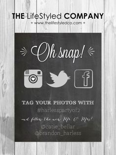 Printable Social Media Wedding Sign by LCODesignandPaperie on Etsy, $10.00