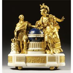 A French gilt-bronze, white marble and blue painted tôle pendule aux cercles tournants in Louis XVI style, second half 19th century the dial within a globe applied with fleurs de lys flanked by Minerva counselling Louis XVI, on a plinth base mounted with reliefs illustrating the reign of Louis XVI, on inverted bell shaped feet. 62cm. high, 56cm. wide, 20cm. deep / 2ft. ½in., 1ft. 10in., 7¾in. Estimate 6,000 — 8,000 GBP, LOT SOLD. 21,600 GBP. (Hammer Price with Buyer's Premium.) 03 JULY 2007.