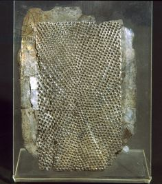 Etruscan silver cheese grater from the Tomb of Bernardini at Palestrina Etruscan museum at Villa Giulia, Rome