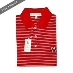 UGA Standing Dawg Magnolia Stripe Performance Polo - Red & White - Knit Collar