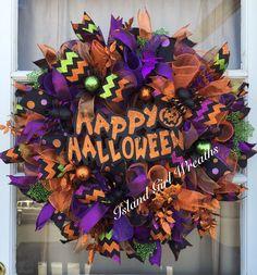 Deco Mesh Halloween Wreath -Happy Halloween Sign -Orange -Purple by IslandGirlWreaths on Etsy https://www.etsy.com/listing/227162803/deco-mesh-halloween-wreath-happy