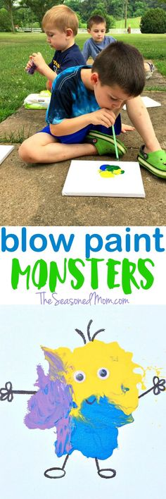 Easy Art Activity for Kids: Blow Paint Monsters - The Seasoned Mom