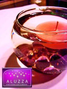 Peceras De Cristal Con Velas Flotantes Y Gemas ::..aluzza