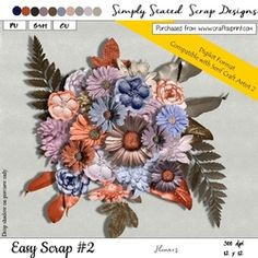 Easy Scrap  2   DIGIKIT Flowers Pack on Craftsuprint - View Now! Scrapbook, Floral, Easy, Flowers, Jewelry, Design, Jewellery Making, Jewelery