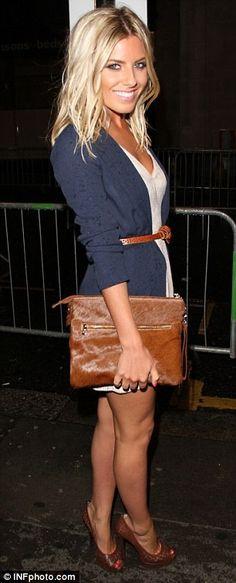 white dress navy cardigan brown belt around both plus leather bag