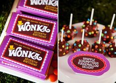 This super sweet Willy Wonka themed party was sent to us by Simone ofInvite me. in Australia. Her daughter just finished reading Charlie & The Chocolate Factory and wanted it to be the theme of her party. Using inspiration from both of the movies, Simone re-created her own version of the chocolate factory. Sweettreats on …