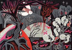 'Silent Night' by British artist Clare Curtis. Linocut, 240 x 340 mm. Etching Prints, Silent Night, Graphic Illustration, Illustrations, Art Prints, Lino Prints, Block Prints, Natural History, Printmaking