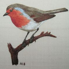 Embroidered robin on a branch Hand Embroidery Patterns Flowers, Bird Embroidery, Hand Embroidery Designs, Cross Stitch Embroidery, Machine Embroidery, Thread Painting, Robins, Birds, Satin Stitch