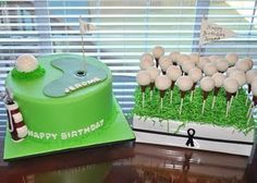 Cake balls as golf balls! @Patty Gitter for Tucker's smash cake?  All in green buttercream with a little fondant for the flag & hole .... then a real cake pop golf ball?