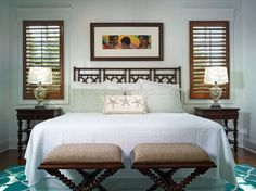 Master Bedroom Decorating Ideas for a Tropical Bedroom with a Nightstand and Capriano at Mediterra by London Bay Homes