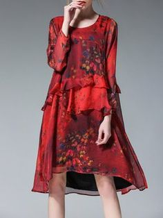 Red Shirt Collar Ruffled Butterfly Print Long Sleeve A-line Midi Dress