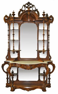Victorian Rosewood Etagere. Imagine this being filled with lovely plants and flowers. And a stained glass lamp. And old books. And jewelry boxes. Ohh, drool <3