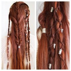 This is a recreation of one of the winning entries in my hair accessory giveaway. - This is a recreation of one of the winning entries in my hair accessory giveaway, originally worn o - Braided Hairstyles, Cool Hairstyles, Pirate Hairstyles, Fantasy Hairstyles, Medieval Hairstyles, Viking Braids, Hair Reference, Hair Beads, Hair Dos