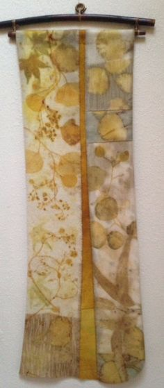 Eco print of Eucalyptus and maple leaf on wool by Jen Smith