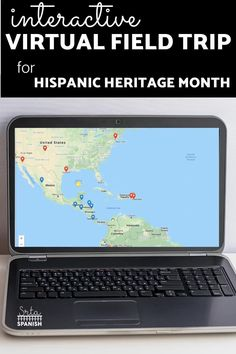 """Your students will LOVE getting to """"visit"""" areas around the world and learn about different people for Hispanic Heritage Month in Spanish class! A variety of Spanish-speaking countries and people are highlighted in this Google Maps digital webquest adventure! These activities are perfect lesson plans for incorporating technology and learning about language and culture! Click to see more! Months In Spanish, Spanish Speaking Countries, Hispanic Heritage Month, Virtual Field Trips, Interactive Map, Spanish Class, How To Speak Spanish, Graphic Organizers, Lesson Plans"""
