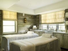 Cowshed Spa, Soho Beach House, Miami I like the colors, rustic wood but cozy feel window shades make warm glow Soho House, Soho Beach House Miami, Miami Beach, Commercial Interior Design, Commercial Interiors, Somerset, Facial Room, Spa Treatment Room, Massage Treatment