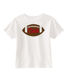 White & Blue Football Personalized Tee - Infant Toddler & Kids