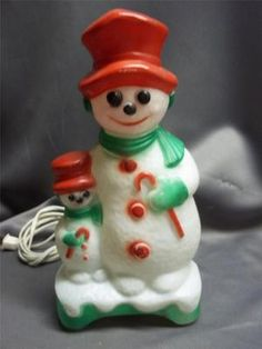 Vintage Christmas Blow Mold ~ Snowman and Snowbaby by Carolina Enterprises ©1976