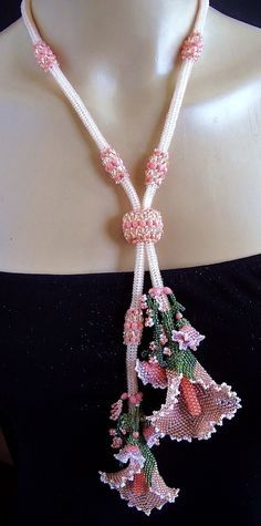 Beaded Rope With Beaded Flowers