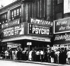 """vintagegal:  """"Psycho"""" opened in New York City at the DeMille Theater (and the Baronet) on Thursday June 16th 1960. (via)"""