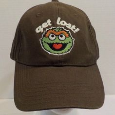 Sesame Street 123 Oscar Grouch Baseball Truckers Hat Cap Adjustable