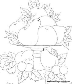 Vintage Embroidery, Embroidery Stitches, Embroidery Patterns, Hand Embroidery, Free Coloring Pages, Coloring Sheets, Coloring Books, Fruit Pattern, Pattern Art