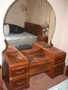 Waterfall Bedroom Suite - Vanity/ Dresser. 1930's Art Deco