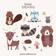 Lindos animales del bosque dibujados a mano Vector Gratis