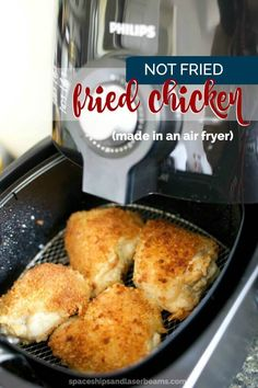 Hit your New Year's health goals with diet friendly air frying Not Fried Fried Chicken Recipe via Spaceships and Laser Beams Air Fryer Chicken Thighs, Air Fryer Fried Chicken, Air Fried Food, Fried Chicken Recipes, Air Fryer Recipes Chicken Wings, Recipe Chicken, Air Fry Chicken, Indian Chicken, Chicken