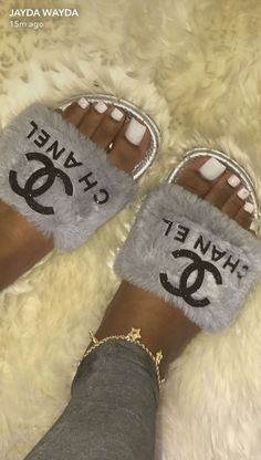 chanel fuzzy slides - Chanel Boots - Trending Chanel Boots for sales. Cute Sandals, Shoes Sandals, Flats, Sneakers Fashion, Fashion Shoes, Cute Slides, Fuzzy Slides, Heeled Boots, Shoe Boots