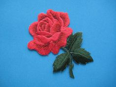 High quality Iron-On embroidered Patch Red Rose by Iron On Embroidered Patches, Embroidery Patches, Cute Embroidery, Embroidery Designs, Stitch Patch, Hand Painted Fabric, Pin And Patches, Floral Designs, Fabric Painting