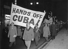 Members of the Campaign for Nuclear Disarmament (CND) march during a protest against the U.S. action over the Cuban missile crisis, on October 28, 1962 in London, England. (Getty Images)