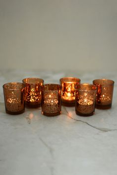 David Tutera Copper Mercury Glass Votive Holders Find Rustic Glam Wedding Decorations Like This Beautiful TuteraTM