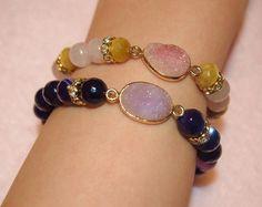 druzy gemstone bracelet made by naoco okada from LC.Pandahall.com   #pandahall