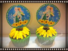 Frozen fever sunflower cupcakes by Jen Kwasniak