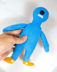 One-Eyed Blue Monster In Sneakers - Stuffed Animal For Kids - Handmade Plushie