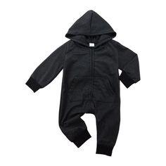 ffe5da3d5 Bolsillo de la Cremallera Del Mameluco recién Nacido de Los Bebés Ropa  Casual Manga Larga Con Capucha Mono Negro Del Algodón Del Bebé Ropa de Otoño