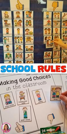 This school rules pocket chart sort is perfect for the first day of school or the beginning of school. The kiddos sort good choices and sad choices in a pocket chart. They then complete one of the independent practice printables. School Rules Activities, First Day Of School Activities, Kindergarten First Day, First Week Of School Ideas, Last Day Of School, Beginning Of School, Kindergarten Classroom Management, Classroom Rules, Preschool Classroom