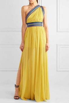 Yellow silk-georgette, multicolored grosgrain Concealed hook and zip fastening at back 100% silk Dry clean Designer color: Mimosa